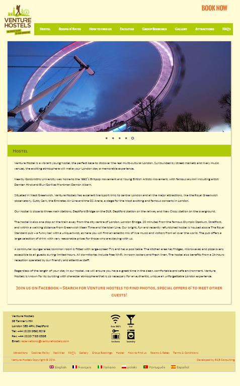 Venture Hostels, London New Website
